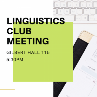 Linguistics Club Meeting Image of keyboard and notebook