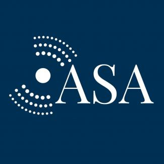 Acoustical Society of America Logo with Blue background and White Text