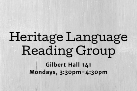 Heritage Language Reading Group Flyer with black text on gray background