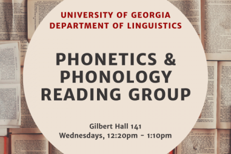 Phonetics and Phonology Reading Group Flyer with text in beige circle and a background of open books