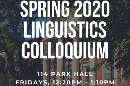Colloquium Flyer with description of location in white on a background of Park Hall